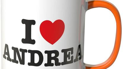 "Wandkings® Tasse mit Spruch: ""I LOVE ANDREA"" in Orange"